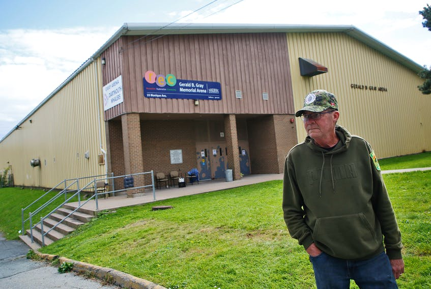 North-end resident Bob Binns is seen in front of the Gerald B. Gray Memorial Arena in Dartmouth Saturday, Oct. 2, 2021. The unused arena is being used now as a temporary shelter. - Tim Krochak