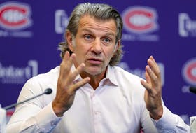 Montreal Canadiens general manager Marc Bergevin during a news conference at the Bell Sports Complex in Brossard on Oct. 7, 2021.