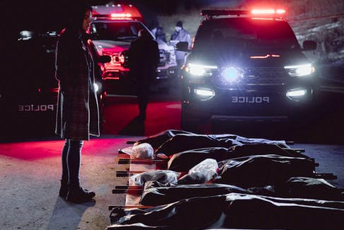 Sam (Jessica Matten) investigates the discovery of Indigenous murder victims found buried under a water treatment plant in Season 2 of the Calgary-shot crime drama, Tribal. Courtesy, Prairie Dog Film and Television.