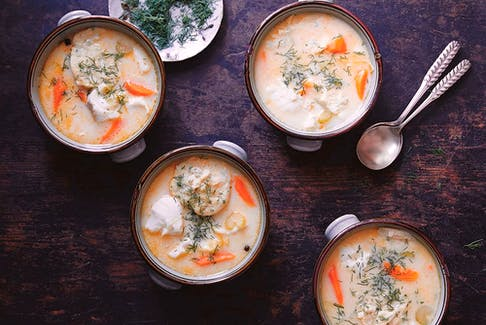 Creamy fish soup with parsley dumplings from Amber & Rye.