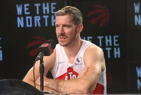 Toronto Raptors guard Goran Dragic speaks to reporters.