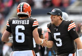 Case Keenum (right) will start for Cleveland on Thursday with Baker Mayfield injured.