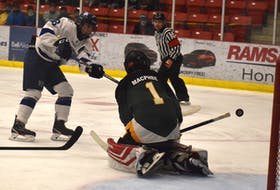 Ryan MacNamara of the Sydney Academy Wildcats, left, has his shot stopped by Memorial Marauders goaltender Jack MacPhee during opening night of the Cape Breton High School Hockey League at the Membertou Sport and Wellness Centre on Tuesday. Sydney Academy won the game 5-3. JEREMY FRASER/CAPE BRETON POST.