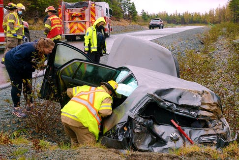 Four people escaped serious injuries following a single-vehicle crash in the far west-end of St. John's Wednesday afternoon.