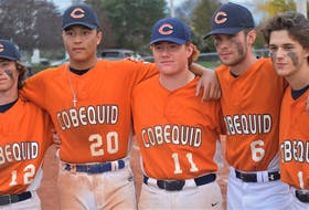 CEC seniors who played their final baseball game for the Cougars in the SSNS final versus Lockview were Bryan Spence (left), John Decoste, Colby Spencer, Zach Dykstra, and Michael Peters.