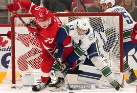 Detroit Red Wings left wing Adam Erne (73) and Vancouver Canucks defenceman Quinn Hughes (43) battle for the puck in  a game Saturday, Oct. 16, 2021, in Detroit.