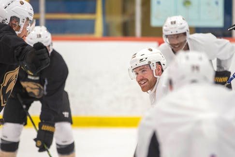 Forward and assistant captain Todd Skirving smiles during a recent Newfoundland Growlers practice. Skirving is back for a third season with Newfoundland, meaning he has a good understanding of the Growlers' unique travel schedule. — Newfoundland Growlers photo/Jeff Parsons