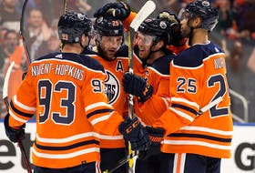 The Edmonton Oilers celebrate Leon Draisaitl's first period goal against the Anaheim Ducks during NHL action at Rogers Place in Edmonton on Tuesday, Oct. 19, 2021.
