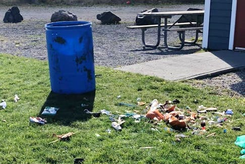 CBRM councillor Ken Tracey posted this photo of torn-up garbage found at Jaycee Tracey Memorial Park in Glace Bay. CONTRIBUTED