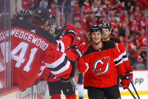 New Jersey Devils centre Dawson Mercer celebrates his first career NHL goal during the first period of their game against the Seattle Kraken at Prudential Center. - Ed Mulholland-USA TODAY Sports