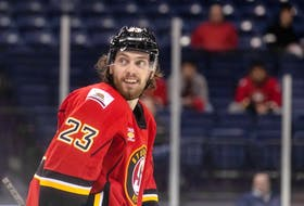 Rugged forward Justin Kirkland made a positive impression during training camp with the Calgary Flames, although he was eventually reassigned to the American Hockey League's Stockton Heat. The 25-year-old could be a call-up candidate for fourth-line duties. Photo courtesy of Stockton Heat