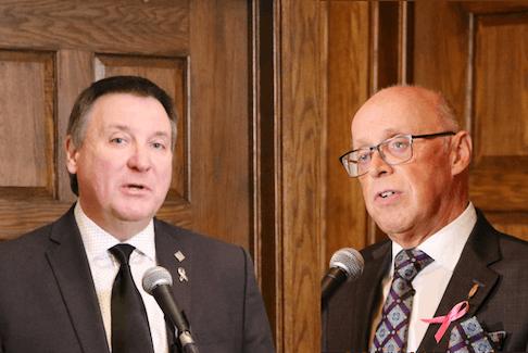 N.L. Progressive Conservative Interim Leader David Brazil (left) and Health Minister John Haggie.