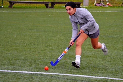 UPEI Panthers midfielder Alexis Wood participates in a drill during a practice at the UPEI turf field on Oct. 19. The Panthers are hosting the Atlantic University Field Hockey League (AUFHL) championship tournament on Oct. 23 and 24.
