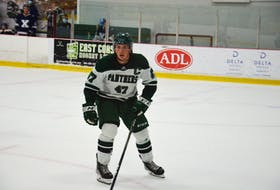 Defenceman and team captain Owen Headrick scored one of the goals for the UPEI Panthers in a 5-2 loss to the Saint Mary's Huskies on Oct. 20. The Huskies hosted the Atlantic University Sport men's hockey game at the Dauphinee Centre.
