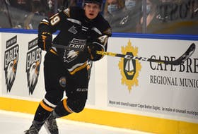 Cape Breton Eagles forward Ivan Ivan makes a pass during Quebec Major Junior Hockey League action at Centre 200 in Sydney earlier this season. The Czech Republic product rejoined the Eagles after missing the 2020-21 season because of the COVID-19 pandemic. JEREMY FRASER • CAPE BRETON POST