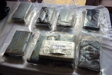 Some of the cocaine seized by the RCMP during Operation Bowman that resulted in five men being charged with trafficking offences. A provincial court judge has excluded the cocaine from evidence, saying police had illegally seized and searched the crate in which it had been found.