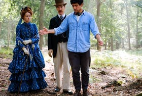 From left, Claire Foy, Benedict Cumberbatch and Will Sharpe on the set of The Electrical Life of Louis Wain.