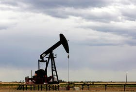 A gas pump jack near Granum, Alberta, on May 6, 2020.