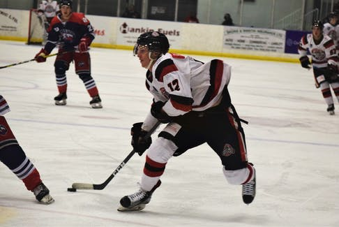Veteran Merle Putnam, pictured in the season opener versus South Shore, scored his second goal of the season in a 6-2 loss to the Ramblers. The Crushers as a team have struggled to score goals with only 11 in six games.