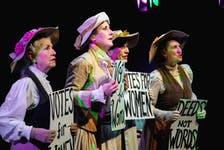 """""""Deeds not words"""" were among the slogans chanted by the Newfoundland Women's Suffragist movement, as they rightfully demanded that politicians fulfill their empty promises regarding women's rights. Shown here are castmembers from """"The Mirror"""" (from left) Terri Andrews, Alison Woolridge, Wendi Smallwood, and Sharon King-Campbell. — Ashley Harding photo."""