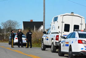 The RCMP on the scene on the Pembroke Road in Yarmouth County on Nov. 4, 2017, while investigating a shooting at a residence. TINA COMEAU • TRICOUNTY VANGUARD