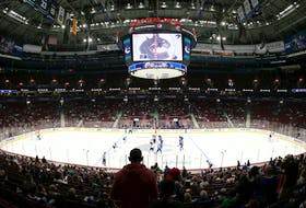 Fans return to Rogers Arena for the first time since March 2020 as the Vancouver Canucks and Winnipeg Jets face off during their preseason NHL game at Rogers Arena on October 3, 2021 in Vancouver, British Columbia, Canada.