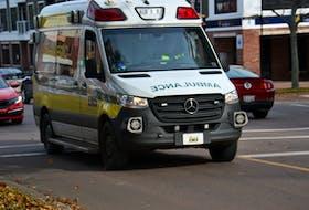 An ambulance operated by Island EMS.