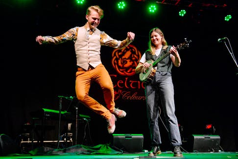 """Dancer Nic Gareiss brought Canadian banjo player Allison de Groot with him to Celtic Colours in the opening concert, """"Together Again."""" CONTRIBUTED/CORY KATZ"""