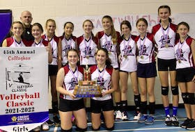 The East Wiltshire Warriors defeated the Queen Charlotte Coyotes 2-0 (25-17, 2512) to win the Charlottetown-based school's first-ever Callaghan Girls Volleyball Classic title. The recent 45th edition of the longest-running junior high volleyball tournament. M.E. Callaghan Intermediate School in Profits Corner hosts the annual event. Members of the Warriors are, front row, from left: Lauryn Woodworth and Rachel MacFadyen. Back row: Mava Gauthier, head coach Phil Woodworth, Abby Mahoney, Halle Murray, Kayla Story, Reagan Hunter, Ariah Pot, Jocelyn Landry, Peyton Peters, Sophia Butler and Rebekah Woodworth. Missing from the photo is assistant coach Melissa MacKinnon.