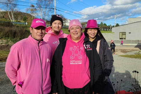 Sherise Paul-Gould surrounded by her family, from left, husband Eldon Gould, son Keane Paul, and daughter Elle Taylor at last year's Mi'kmaq Run for the Cure. Paul-Gould lost her nine-year battle with cancer in June. CONTRIBUTED