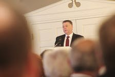 Premier Dennis King addressing an audience of Summerside area businesspeople during the annual Greater Summerside Chamber of Commerce Breakfast with the Premier. King painted a positive picture of growing economic prospects for the province.