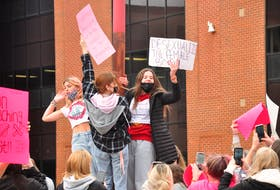 More than 200 students rallied together Oct. 19 led by Charlottetown Rural High School students protesting against sexualization of female bodies.