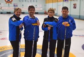 Shelley MacNutt, Todd Burgess, Colleen Pinkney and Craig Burgess recently won the mixed curling championships in Antigonish and will represent Nova Scotia at nationals in Canmore, Atla.