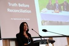 Jenene Wooldridge speaks at the mayor's congress at the Delta Hotel in Charlottetown yesterday afternoon. Rafe Wright • Special to The Guardian