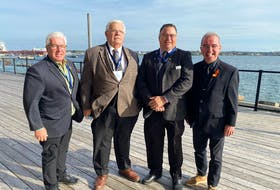 From left, Bruce MacDougall, president of the P.E.I. Federation of Municipalities; Summerside Mayor Basil Stewart, Geoff Stewart, third vice-president of the national Federation of Municipalities; and Charlottetown Mayor Philip Brown take part in the Atlantic Mayors Congress at the Delta hotel in Charlottetown Oct. 21-23. Sara MacIsaac • Special to The Guardian