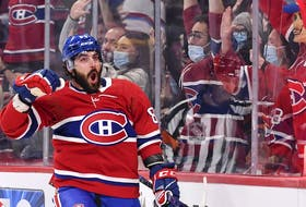 Canadiens' Mathieu Perreault celebrates his goal during the second period against the Detroit Red Wings at the Bell Centre on Saturday, Oct. 23, 2021, in Montreal.