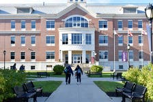 Students cross the square on Holland College's Charlottetown campus on Oct. 21. The college's enrolment numbers are similar to last year, which was a drop from pre-pandemic levels, due in large part to a decrease in international students.