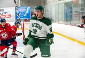 Dani Antropov of the UPEI Panthers celebrates a first-period goal on Oct. 23. Antropov's goal at 8:47 gave the Panthers a 3-0 lead and that's how the Atlantic University Sport Men's Hockey Conference game at MacLauchlan Arena would finish. Janessa Hogan Photo/UPEI Athletics