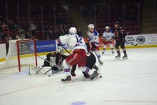 Summerside D. Alex MacDonald Ford Western Capitals forward Colby MacArthur watches his shot pick the top corner past Truro Bearcats goaltender Felix-Anthony Ethier in the third period of a Maritime Junior Hockey League game at the Island Petroleum Energy Centre on Oct. 23. The Caps won the game 7-2.