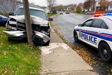 There were no injuries after a pickup crashed into a pole in St. John's monday afternoon.
