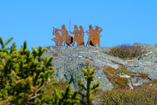 The iron sculpture at the L'anse aux Meadows National Historic Site depicting the arrival of the Vikings a thousand years ago.