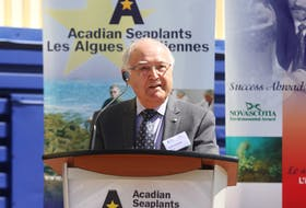 Acadian Seaplants founder Louis Deveau during the 2014 opening of the company's 115,000-square-foot production facility in Cornwallis, N.S. - Gordon Delaney