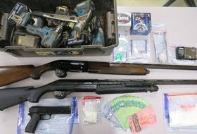 Charlottetown Police Services recovered several items stolen from a home on St. Peter's Road, including firearms and ammunition, alongside a quantity of drugs and cash as well as items from other unrelated thefts, while searching a suspect's home on Saturday, Oct. 23.
