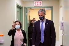 Premier Tim Houston tours the new Northside Urgent Treatment Centre on Monday, alongside Dr. Joan Salah, primary health-care physician co-lead, eastern zone, with Nova Scotia Health. IAN NATHANSON • CAPE BRETON POST