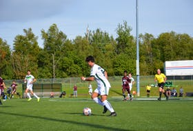 Nathan Chow, 9, controls the ball during an Atlantic University Sport men's soccer game against the Saint Mary's Huskies in Charlottetown earlier this season. The teams met again in Halifax, N.S., on Oct. 24, and Chow scored UPEI's goal in a 1-1 tie.