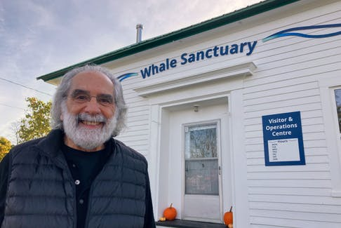 Whale Sanctuary Project executive director Charles Vinick outside the group's new visitor and operations centre in Sherbrooke.
