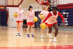 Elizabeth Iseyemi dribbles into the paint during a recent Acadia Axewomen practice in preparation for the 2021-22 Atlantic University Sport season.