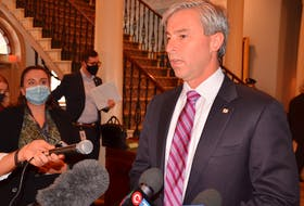 Premier Tim Houston addresses the media at Province House in Halifax on Tuesday, Oct. 26, 2021.