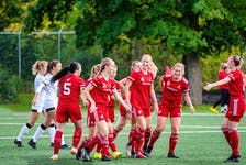 The Memorial Sea-Hawks women's soccer team has had plenty of reasons to celebrate recently, with five straight wins and a guaranteed place in the AUS playoff semifinals. — Memorial Athletics/Ally Wragg
