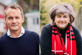Newfoundland Liberal MPs Seamus O'Regan (left) and Gudie Hutchings were named to Prime Minister Justin Trudeau's cabinet on Tuesday, Oct. 26, 2021.